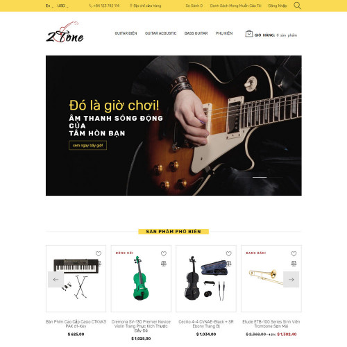 Làm website nhạc cụ 01